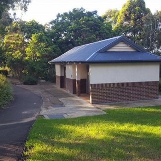 Toilet block- outside the gates of the playground near car park